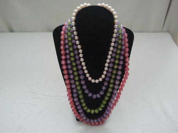 Vintage 1960's 5 strand necklace by Theforgottenfrog on Etsy, $13.98