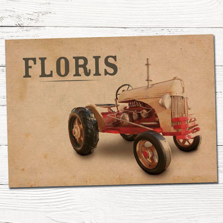 retro geboortekaartje met tractor | ontwerp op maat | grafisch | ontwerp | babykaartjes | foto | jongen
