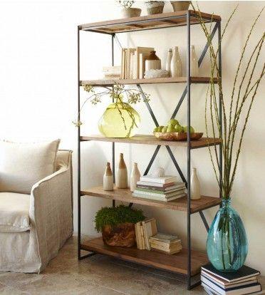 Reclaimed Wood Railroad Tie Bookshelf - VivaTerra: Ties Bookshelf, Bookshelves, Reclaimed Wood, Industrial Bookshelf, Industrial Shelves, Metals Shelves, Wood Shelves, Ikea Hacks, Railroad Ties