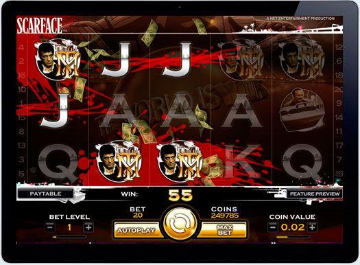 Играть в онлайн казино Scarface на деньги.  Компания Net Entertainment предлагает почувствовать себя частью культовой киноленты «Лицо со шрамом», играя на деньги в онлайн казино на тематическом автоматеScarface. Легендарный Тони Монтана, и другие герои фильма, встречаются на