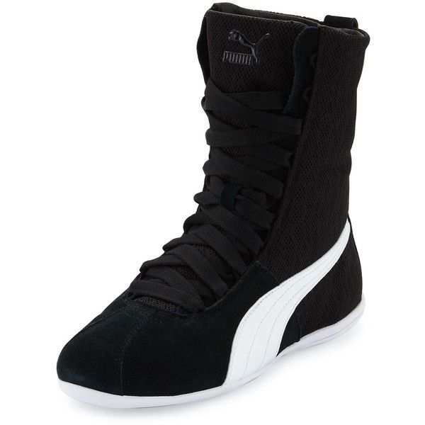 Puma X Alexander Mcqueen Eskiva Hi Mesh High-Top Sneaker ($79) ❤ liked on Polyvore featuring shoes, sneakers, black, black lace up shoes, puma shoes, black shoes, black high top shoes and black hi tops