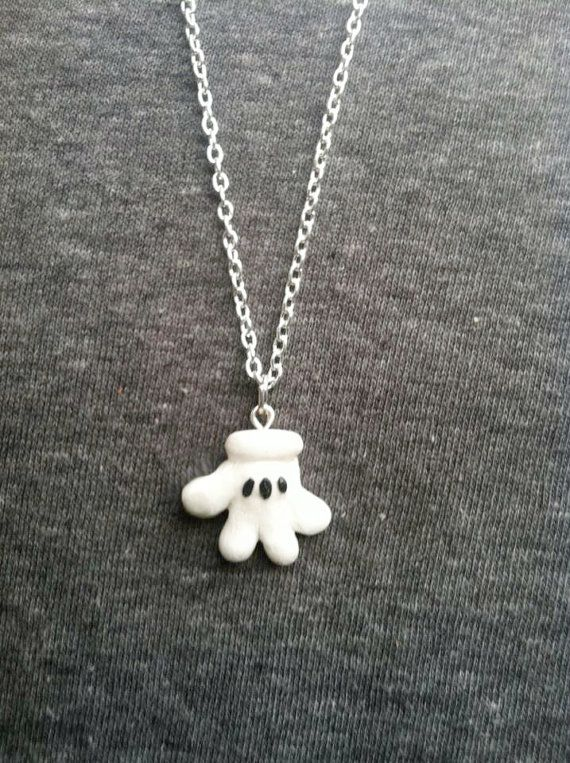 Mickey Mouse Glove Polymer Clay Pendant Necklace Disney Inspired