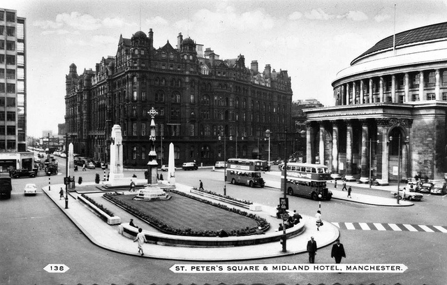 Postcard view of St. Peter's Square, Manchester, UK, c.1950s. The Manchester Cenotaph in the Square was dedicated in 1924 as a memorial to those who lost their lives in World War I.