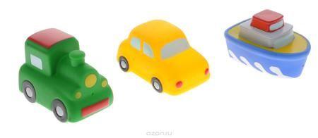 """Жирафики Набор игрушек для ванной Путешествие 3 шт  — 278р. ---- С набором игрушек для ванной Жирафики """"Путешествие"""" принимать водные процедуры станет еще веселее и приятнее. В набор входят 3 игрушки в виде кораблика, машинки и паровозика, которые могут брызгать водой. Набор доставит ребенку большое удовольствие и поможет преодолеть страх перед купанием. Игрушки для ванной способствуют развитию воображения, цветового восприятия, тактильных ощущений и мелкой моторики рук."""
