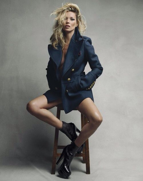 Kate Moss on the cover of Vogue September issue 2010. Kate wears a felt pleat-back pea coat, £1.495, Burberry Prorsum, at Burberry. Leather boots, from £900, Azzedine Alaia, at Harrods and Selfridges. All make-up by Burberry. Hair: Sam McKnight. Make-up: Val Garland. Fashion editor: Kate Phelan. Photography by Patrick Demarchelier. #Fashion