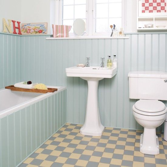 Chic country bathroom    A pretty duck-egg colour scheme is teamed with a period-style white suite to give this room a charming country feel. Tongue and groove panelling adds to the classic look.    Bath, loo and basin  Kitchen and Bathroom Collection  Tongue and groove  Easipanel