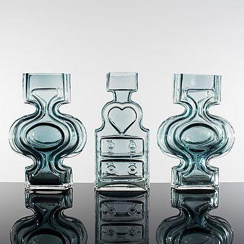 HELENA TYNELL, HELENA TYNELL, vaser, 3 e, Glas, Solflaskan, Riihimäen Lasi.