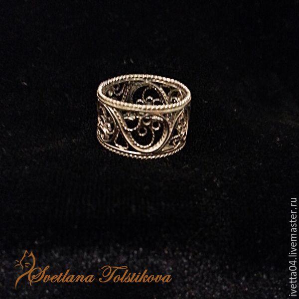 Ажурное кольцо в технике филигрань из серебра. filigree jewelry