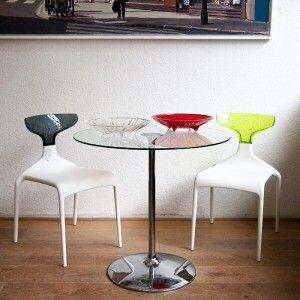 Artikel: Bistrotafel Afmeting: 77cm x 81cm (H, Dia) Materiaal: Glas en chroom Prijs: Van €695,– voor €495,– (demonteerbaar)