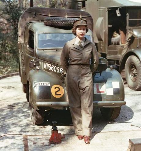 Second Subaltern Elizabeth Windsor of the Auxiliary Territorial Service, as Princess Elizabeth was known during her wartime service, trained as a mechanic and truck driver. To see more, visit www.elinorflorence.com and read the blog post: War Veteran Wears a Crown.
