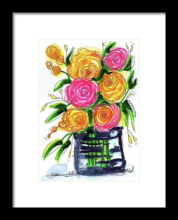 Floral Framed Print featuring the painting I Brought You Flowers by Tonya Doughty