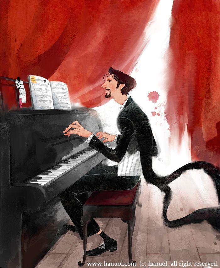 Risultati immagini per illustration pinterest pianist