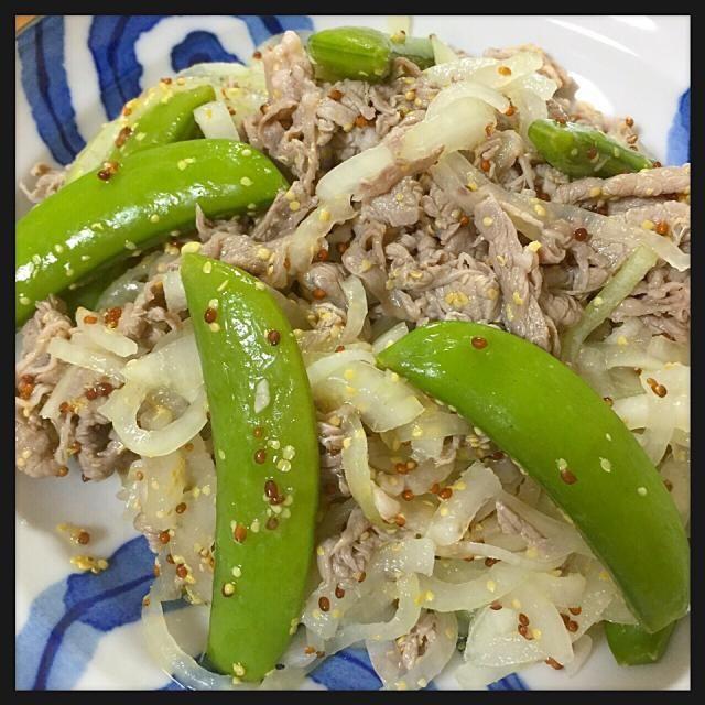 簡単で美味しい、さっぱりだけどボリュームはある感じ☻ - 3件のもぐもぐ - 牛肉とスナックえんどうのサラダ by raccastyle