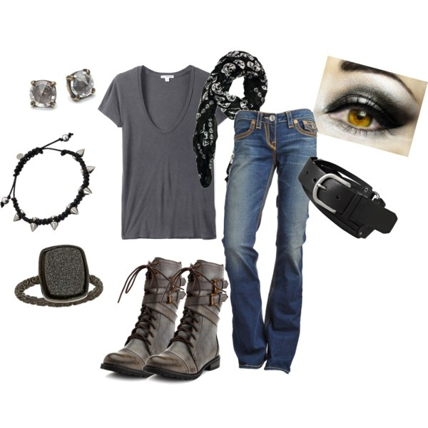 """""""Moody Rocker Girl"""" created by #pbmhuck, #polyvore #fashion #style James Perse Charlotte Russe Dara Ettinger Made Her Think #FOSSIL t-shirt dresses biker boots #black #gray smokey eyes #skulls #spikes"""