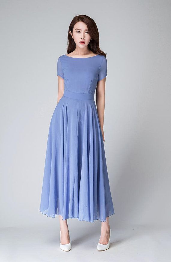 This Blue maxi dress is hand crafted with soft chiffon in a blue hues , featring short sleeve, boat neck line, The fit and flare desigh will give you a Best silhouette. Wear this for your next party.  DETAIL * Soft Chiffon * with lining * Round collar * short sleeve * Fitted waist * Back zip closure * Bridesmaid dress, wedding dress, party dress * Length approx 120 cm * Wash by hand or machine with cold water  SIZE GUIDE  Available in women's US sizes 2 to 18, as well as custom size and…