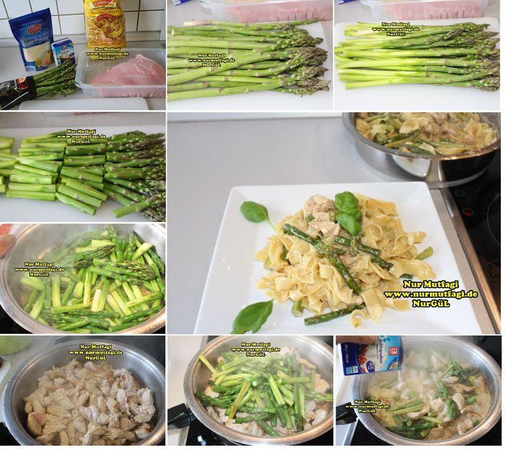kremali kuskonmaz makarna tarifi - yesil kuskonmaz - gebratene grüne spargel rezept (2)