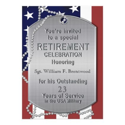 Retirement Party Invitation - Military - Dog Tags - invitations custom unique diy personalize occasions