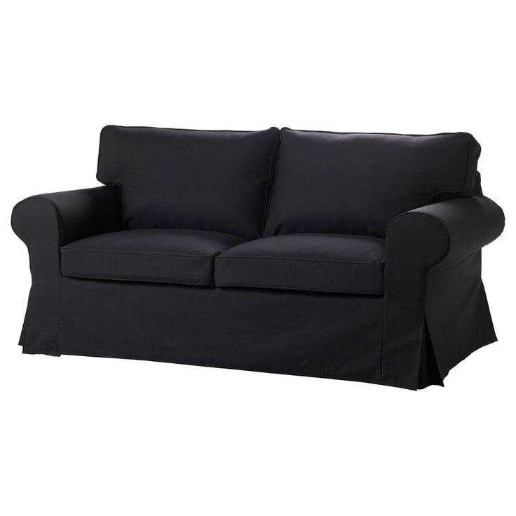 Ikea Ektorp Loveseat Slipcover Idemo Black Slip Cover 100 Cotton Traditional Loveseat Covers
