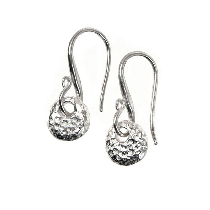 Dower & Hall Sterling Silver Long Hammered Bean Nomad Earrings YS4EBd