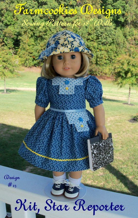 "Kit, Star Reporter / Sewing Pattern for Dress & Hat /  Printed Pattern for American Girl Kit, Ruthie, Molly or other 18"" Dolls"