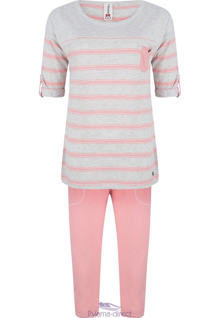 "A young & trendy ""bold stripes"" pink & grey pyjama with a little turn-up detail on the sleeves  rrom Rebelle"