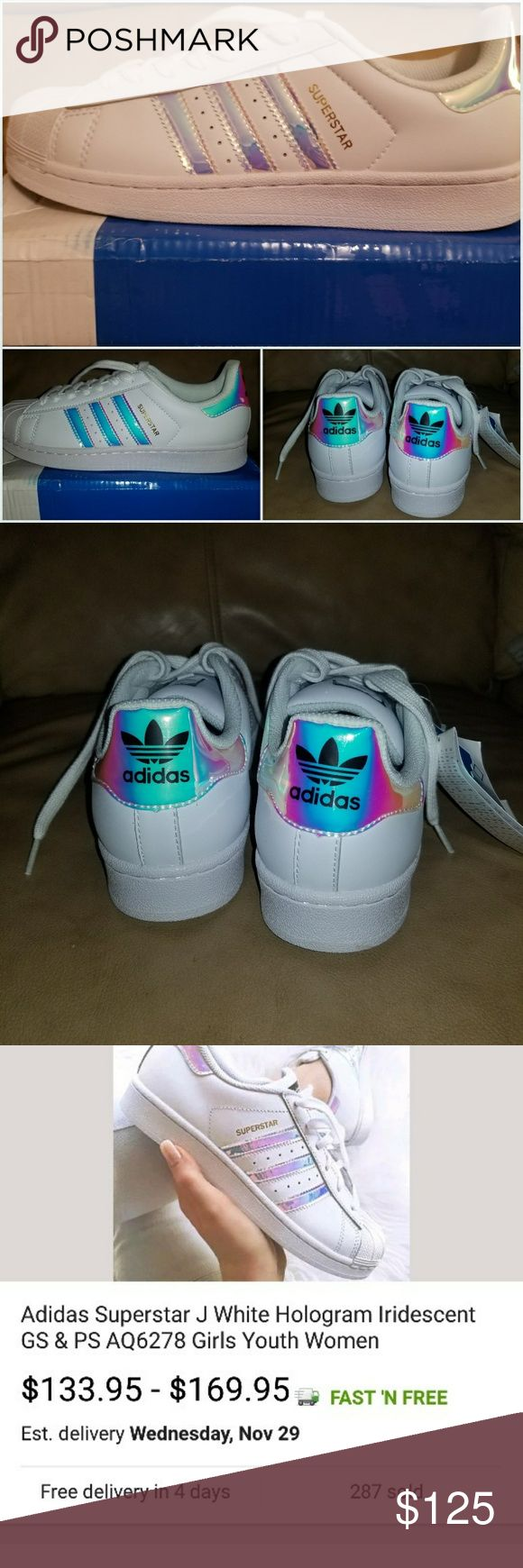 Adidas Iridescent Superstars Limited Edition Brand new and very hard to find. I'm upset because I ordered these for myself and they were too big. I paid $130. These shoes would make a great Christmas Present!! Size 7 adidas Shoes Athletic Shoes
