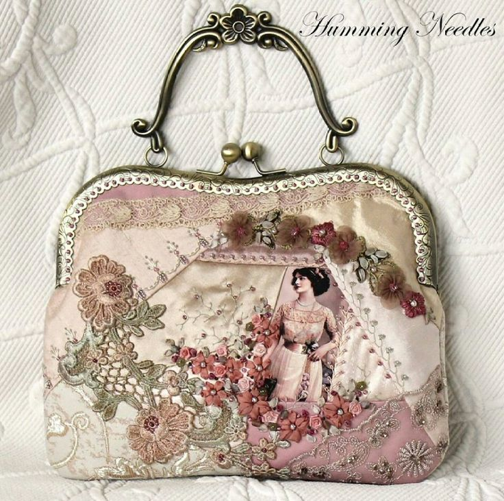Quilting, beading & ribbon embroidery. Crazy quilted evening purse ~By Humming Needles: