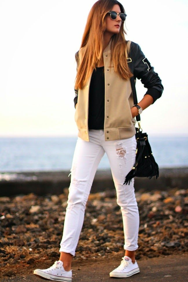 Marilyn's Closet - FASHION BLOG: College Bomber and white jeans