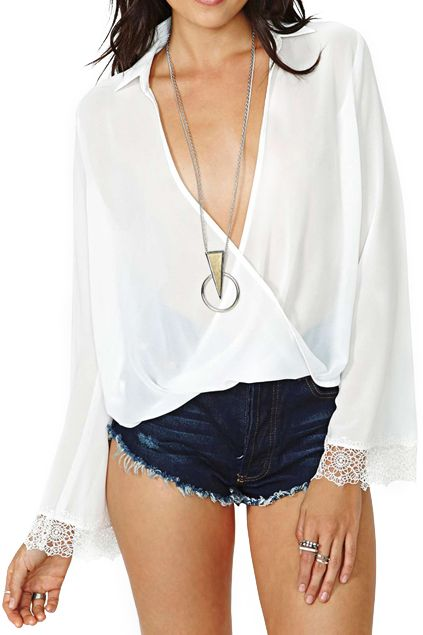 V-neck White Shirt With Embroidered Cuffs #festivalstyle