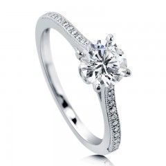 Round Cut Cubic Zirconia CZ 925 Sterling Silver Solitaire Ring 1.28 Ct