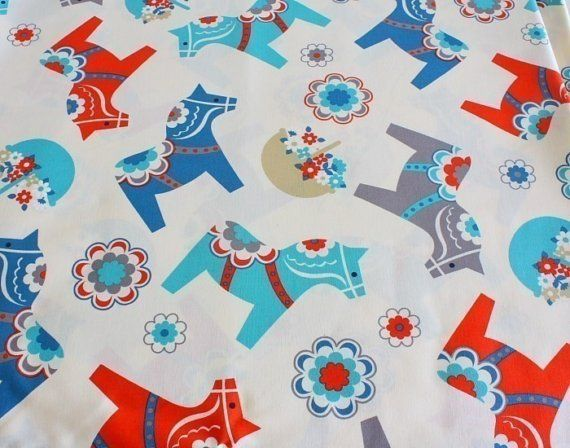 1000 images about dala horses on pinterest folk art for Horse fabric for kids