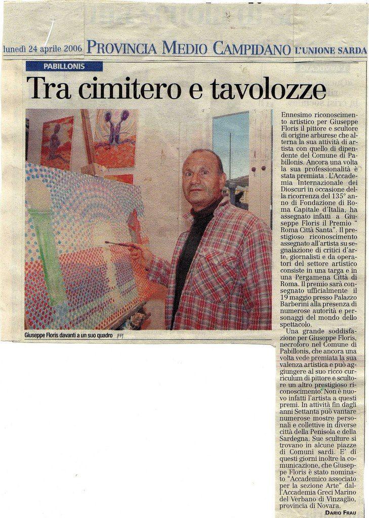 Articolo su L'unione Sarda per il premio Roma Citta Santa conferito a Giuseppe Floris Serra.