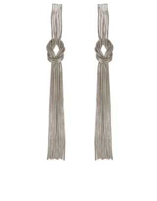 Available in gold- and silver-tone metal, our slinky chain earrings are designed with knot details. Keep yours in focus with side-swept hair. Non-refundable.
