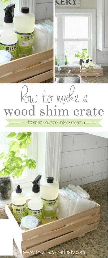 DIY Wood Shim Crate - make this simple, rustic crate to keep your cleaning supplies organized and your counters clean. #ad #FallIntoClean