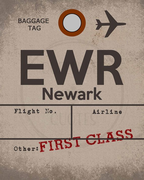 Newark New Jersey Airport Sign Travel Decor Aviation Art