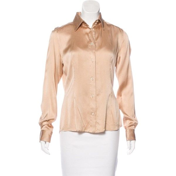 Pre-owned Dolce & Gabbana Long Sleeve Button-Up Top (63 CAD) ❤ liked on Polyvore featuring tops, brown, pink top, pink long sleeve top, gold top, gold long sleeve top and dolce gabbana top