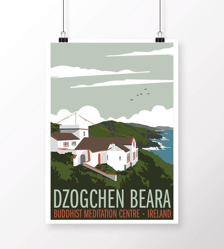 Dzogchen Beara Vintage Style Poster by samuelhorwooddesign on Etsy