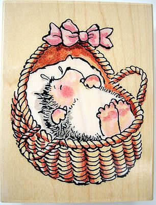 Cute Illustrations - Wood mounted rubber stamp from Penny Black The Margaret Sherry Collection 2075F BASKET OF JOY Stamp size 5 5cm x 7cm Stamped image size 5cm x