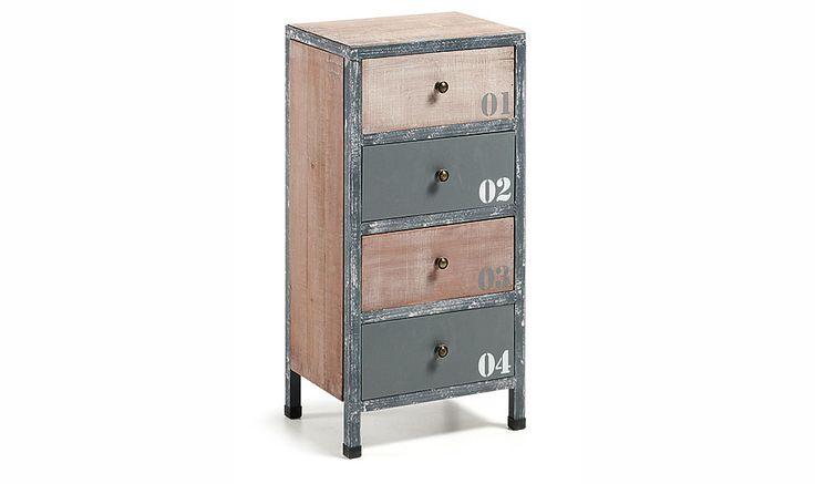 Comodin industrial Erutna   Material: Madera de Abeto   mueble auxiliar en madera de abeto y estructura de metal. Acabado natural envejecido con patina blanca y pintura en tonos grises.... Eur:164 / $218.12