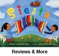 "Siesta. By Ginger Foglesong Guy; illus. by Rene King Moreno│A brother and sister are gathering supplies for a mysterious activity. Reinforces an understanding of colors; each page introduces words for colors using everyday objects: ""Mi mochila azul. My blue backpack."" Each room focuses on a different color. Companion to the book ""Fiesta"" by the same author. Won 2006 ALA Notable Books for Children. Bilingual."
