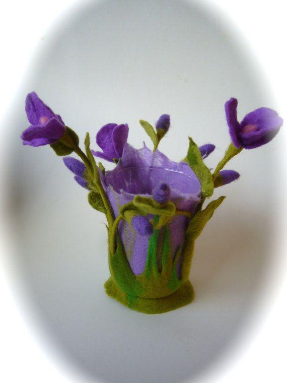 Candle HolderFlowerVaseFelted Flower by FilzArts on Etsy, $46.00