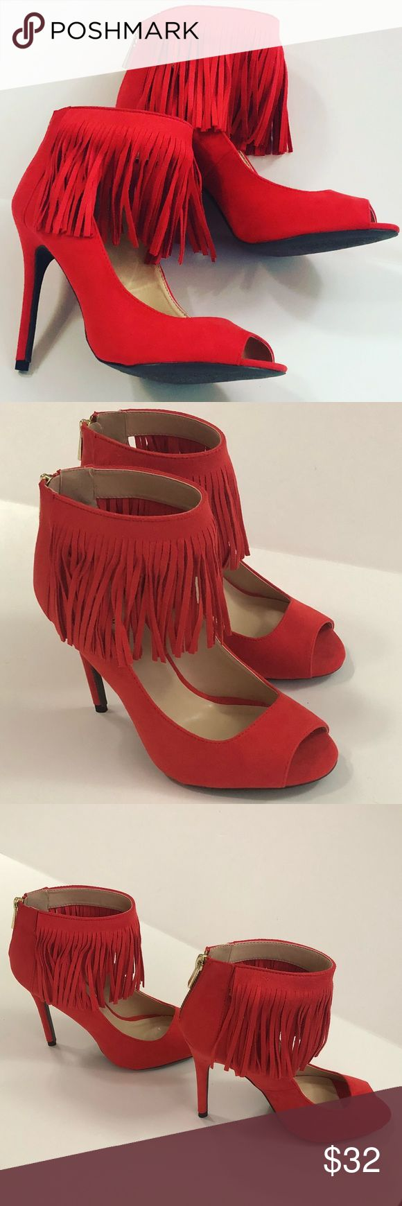 🆕Beautiful Red Fringe Heels Perfect for anytime use them as a neutral. These would really spruce up a tan or beige outfit. These would even be stunning with a gold sequin dress. Or wear them with a crisp white shirt and a short jean skirt. Be fabulous and get you a pair before they sell out. Made out of a suede like Material with 5 inch heels. Evolving Always Shoes Heels