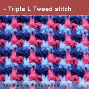 Triple L Tweed stitch. Free Knitting Pattern includes written instructions and video tutorial.