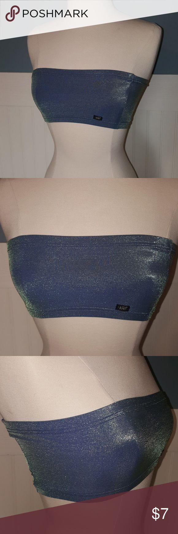 Vintage Shimmery Metallic Blue Green Bandeau Late 90's shimmery metallic blue green chameleon bandeau top or bra, worn once.  Bust: 33 Vie Intimates & Sleepwear Bandeaus