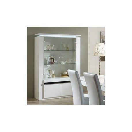 Meuble vaisselier blanc et noir avec clairage led vaisselier design pint - Meuble vaisselier blanc ...