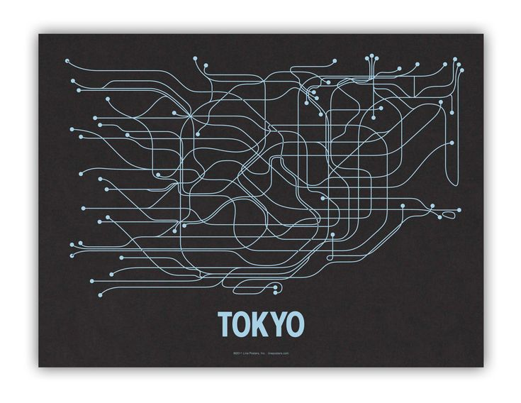 Tokyo Lineposter Screen Print - Black/Metallic Blue.: Cayla Ferari, Screens Prints, Picture-Black Posters, Cities Transitional, Maps, Art, Tokyo, Graphics Design, Black Licorice