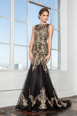 75515e851df8 Black mermaid prom dress with gold lace GLS 2307 | Simply Fab Dress ...