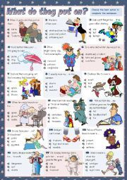 English Worksheets: WHAT DO THEY PUT ON?