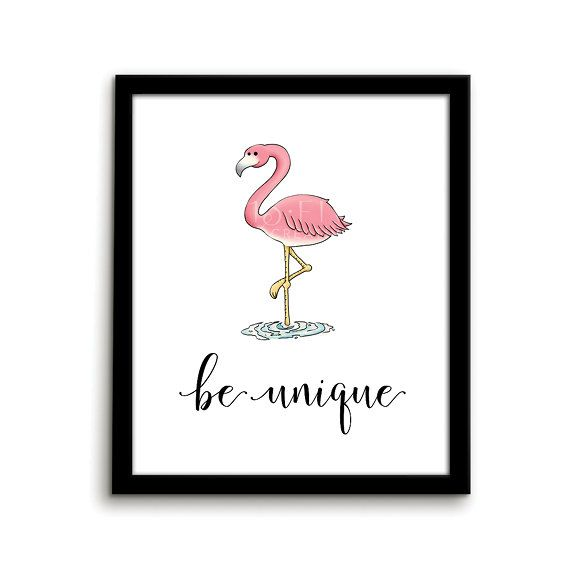 Flamingo Print Animal Nursery Art Print Be by ThirteenFiveCreative