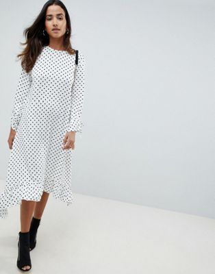 cc09e975683 ASOS DESIGN Soft Trapeze Midi Dress With Pephem In Spot